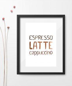 brązowy plakat z kawą i napisem