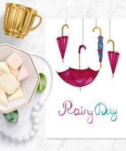 Plakat z motywem parasolek
