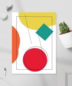 Plakat w ramie z kompozycją kolorowych figur