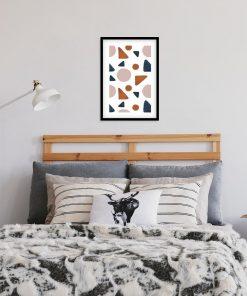 Pastelowy plakat z formami geometrycznymi