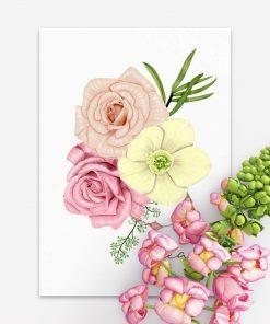 plakat z motywem delikatnych kwiatów