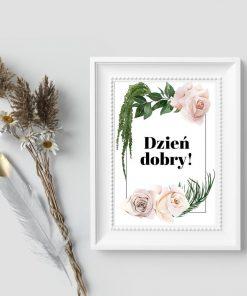 Plakat z roślinami i typografią