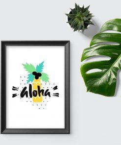 plakat z hawajskim motywem