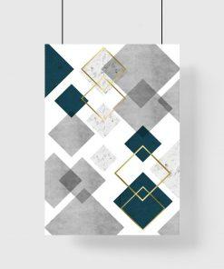 plakat z motywem kwadratów