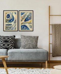 zywica abstrakcja dyptyk plakaty do salonu