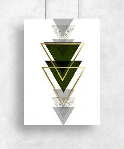 plakat z motywem abstrakcyjnych trójkątów