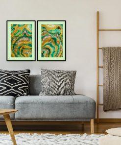 Podwójny plakat z zieloną abstrakcją