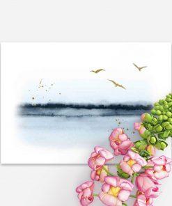 Plakat z ptakami nad jeziorem