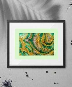 Abstrakcyjny plakat żółto-zielony