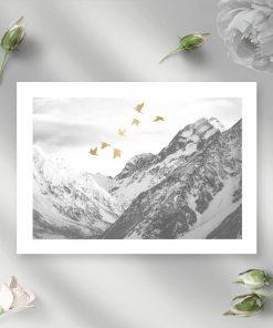 Plakat z krajobrazem gór do sypialni
