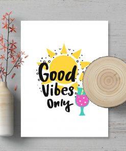 plakat typograficzny Good vibes only do salonu