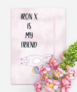 Plakat różowy z jednorożcem