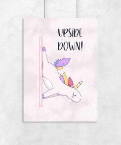 Plakat do studia pole dance - Upside down!