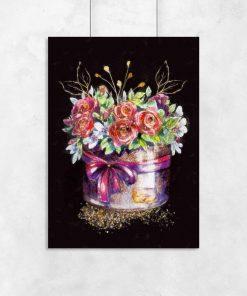 Plakat z bukietem róż do sypialni
