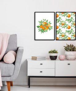 Plakat dyptyk z pomarańczami do przedpokoju
