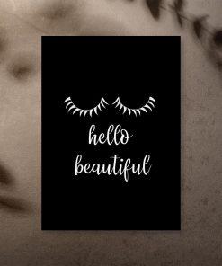 Plakat z napisem - Hello beautiful do sypialni