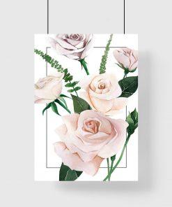 jasno-różowe kwiaty róż na plakacie do kuchni