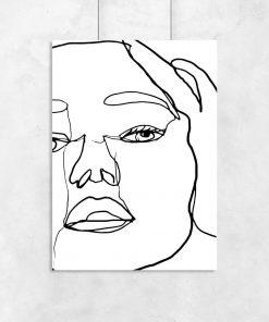 Plakat z twarzą kobiety w stylu line art do salonu