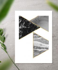 Plakat z marmurkowymi trójkątami do sypialni