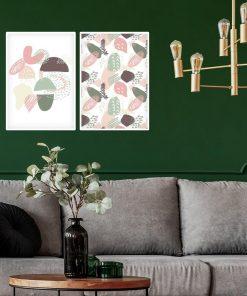 Plakat dyptyk z abstrakcyjnym wzorem do pokoju