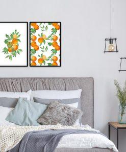 Pomarańcze na plakacie do sypialni