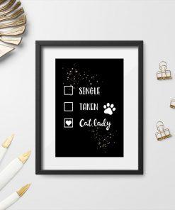 Plakat - Cat lady do sypialni