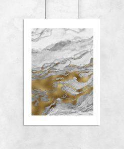 Plakat z biało-szarą abstrakcją do biura