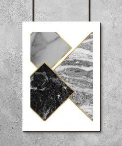 Plakat - Marmurkowe kwadraty do salonu