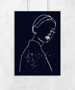 Plakat z rysunkiem kobiety