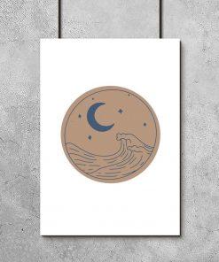 Plakat z falami morskimi do sypialni