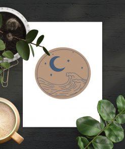 Plakat z falami morskimi do salonu