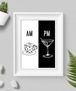 Plakat z kawą i drinkiem na prezent