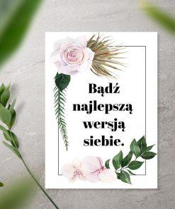 Plakat z kwiatami i sentencją