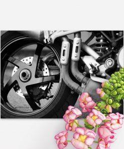 Plakat z kołem motoru