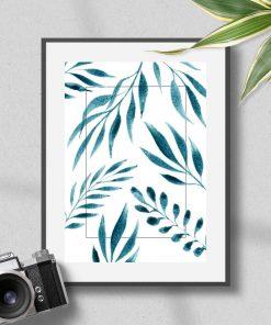 Plakat z motywem liści do biura