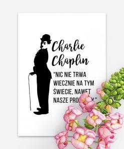 Plakat z cytatem Charliego Chaplina do sypialni