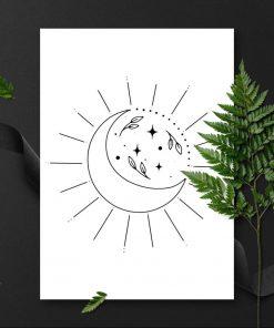Plakat z księżycem i liśćmi do sypialni
