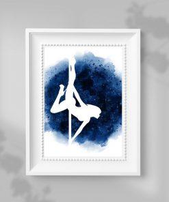 Plakat ze zmysłową tancerką w kolorze niebieskim