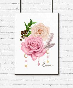 plakat boho z różową różą