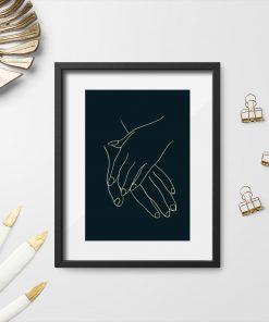 Plakat ze splecionymi dłońmi do sypialni