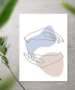 Plakat z dłońmi na białym tle do biura