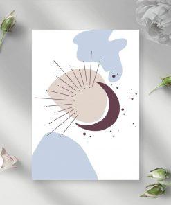 Plakat z abstrakcją z księżycem na prezent