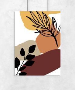 Nowoczesny plakat z liśćmi do salonu