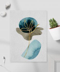 Plakat ze złotą rośliną do sypialni