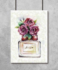 Plakat z kwiatami i perfumami