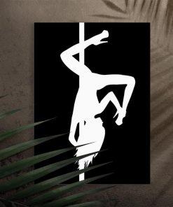 Plakat z odwróconą figura - Pole dance