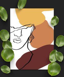 Plakat line art z twarzą mężczyzny do biura