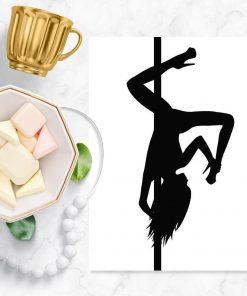 Biało-czarny plakat z fajną figura pole dance