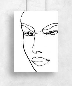 Plakat z konturami kobiecej twarzy do salonu