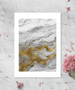 Plakat z biało-szarą abstrakcją do pokoju